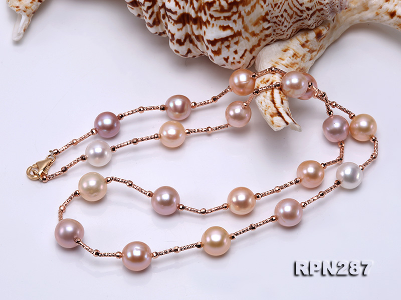 Delicate Sterling Silver 9.5-10.5mm Round Tin Cup Pearl Necklace big Image 2
