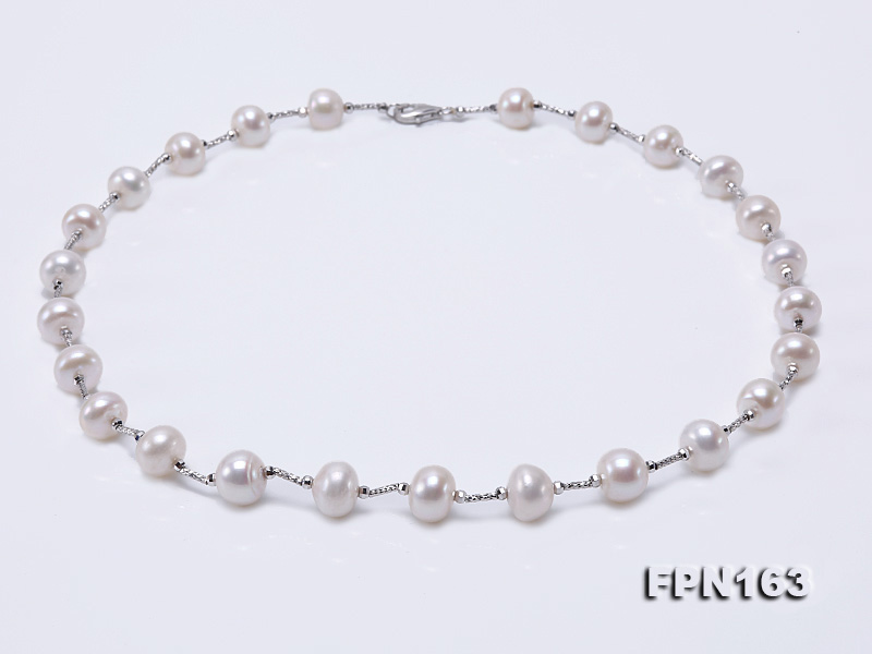 Romantic 9-10mm Flatly Round Freshwater Pearl Necklace in Sterling Silver big Image 1