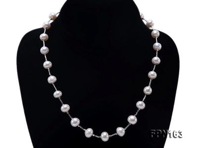 Romantic 9-10mm Flatly Round Freshwater Pearl Necklace in Sterling Silver FPN163 Image 2