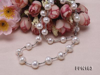 Romantic 9-10mm Flatly Round Freshwater Pearl Necklace in Sterling Silver FPN163 Image 5