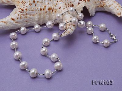Romantic 9-10mm Flatly Round Freshwater Pearl Necklace in Sterling Silver FPN163 Image 6