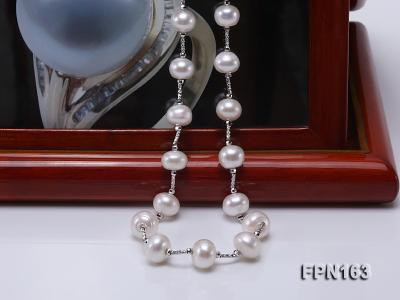 Romantic 9-10mm Flatly Round Freshwater Pearl Necklace in Sterling Silver FPN163 Image 7