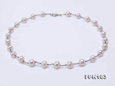 Romantic 9-10mm Flatly Round Freshwater Pearl Necklace in Sterling Silver FPN163 Image 1