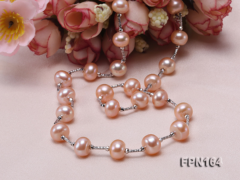 Romantic 9-10mm Flatly Round Freshwater Pearl Necklace in Sterling Silver big Image 6