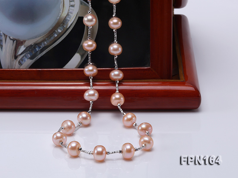 Romantic 9-10mm Flatly Round Freshwater Pearl Necklace in Sterling Silver big Image 7