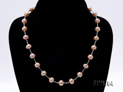 Romantic 9-10mm Flatly Round Freshwater Pearl Necklace in Sterling Silver FPN164 Image 2