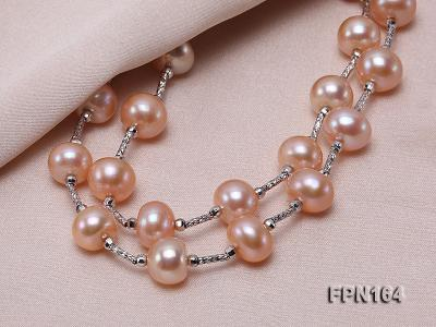 Romantic 9-10mm Flatly Round Freshwater Pearl Necklace in Sterling Silver FPN164 Image 4