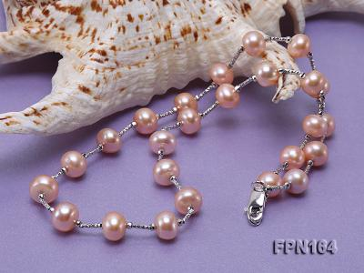 Romantic 9-10mm Flatly Round Freshwater Pearl Necklace in Sterling Silver FPN164 Image 5