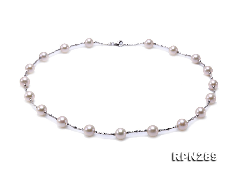 Delicate Sterling Silver 9-10mm White Tin Cup Pearl Necklace big Image 1