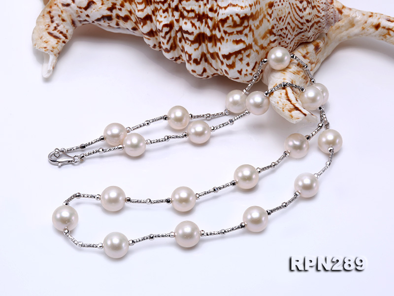 Delicate Sterling Silver 9-10mm White Tin Cup Pearl Necklace big Image 2