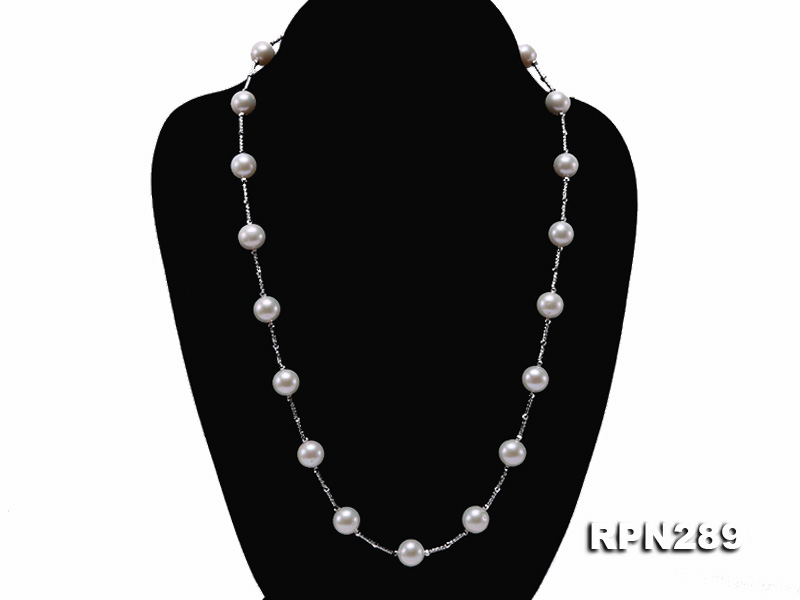 Delicate Sterling Silver 9-10mm White Tin Cup Pearl Necklace big Image 3