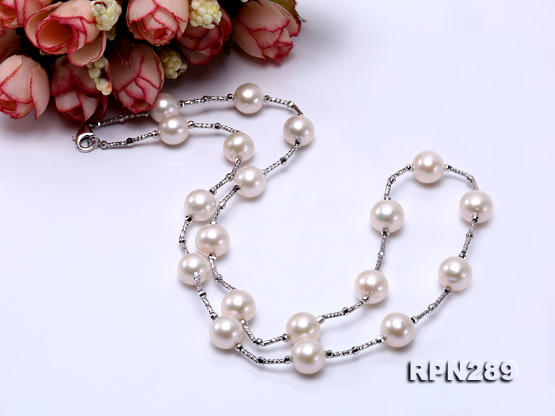 Delicate Sterling Silver 9-10mm White Tin Cup Pearl Necklace big Image 4