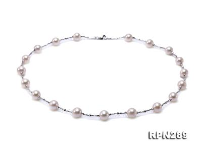 Delicate Sterling Silver 9-10mm White Tin Cup Pearl Necklace RPN289 Image 1