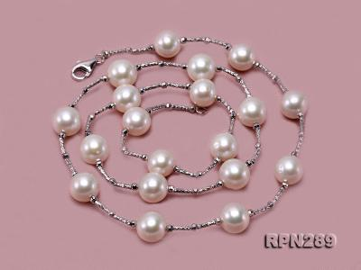 Delicate Sterling Silver 9-10mm White Tin Cup Pearl Necklace RPN289 Image 6