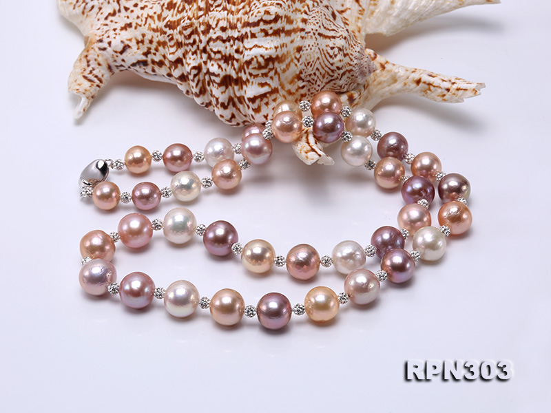 11.5-14mm Multi-color Edison Pearl Necklace with Shiny CZech Rhinestones big Image 3