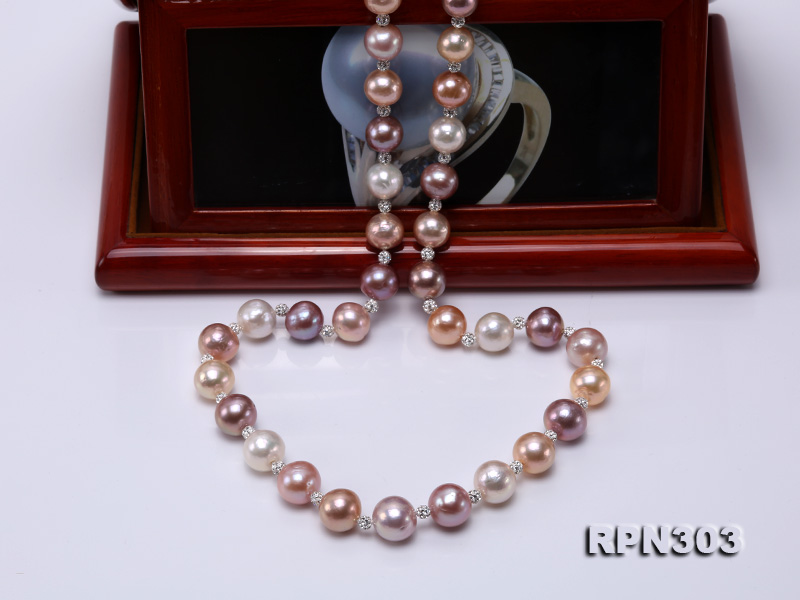 11.5-14mm Multi-color Edison Pearl Necklace with Shiny CZech Rhinestones big Image 5