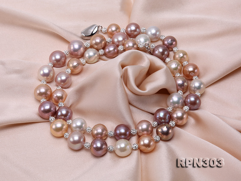 11.5-14mm Multi-color Edison Pearl Necklace with Shiny CZech Rhinestones big Image 6