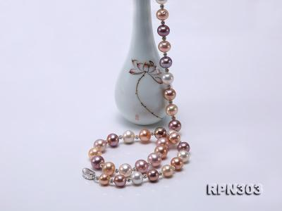 11.5-14mm Multi-color Edison Pearl Necklace with Shiny CZech Rhinestones RPN303 Image 2
