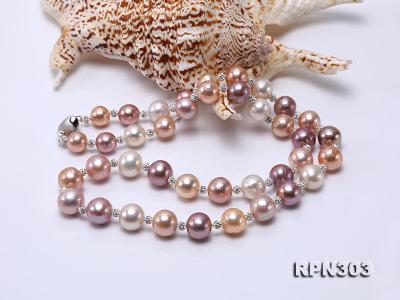 11.5-14mm Multi-color Edison Pearl Necklace with Shiny CZech Rhinestones RPN303 Image 3