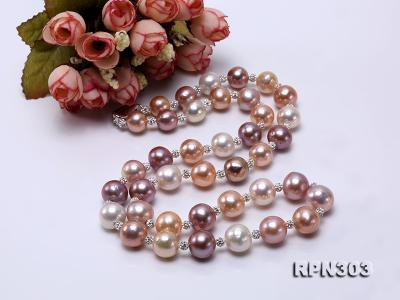 11.5-14mm Multi-color Edison Pearl Necklace with Shiny CZech Rhinestones RPN303 Image 4