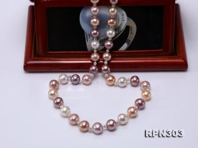 11.5-14mm Multi-color Edison Pearl Necklace with Shiny CZech Rhinestones RPN303 Image 5
