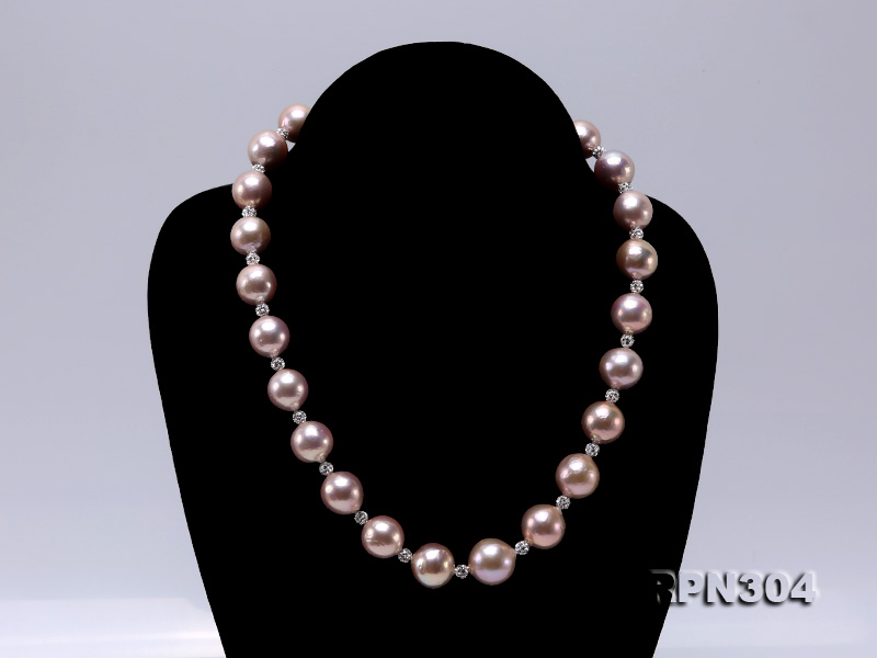 13-14.5mm Huge Lavender Pearl Necklace with Shiny CZech Rhinestones big Image 2