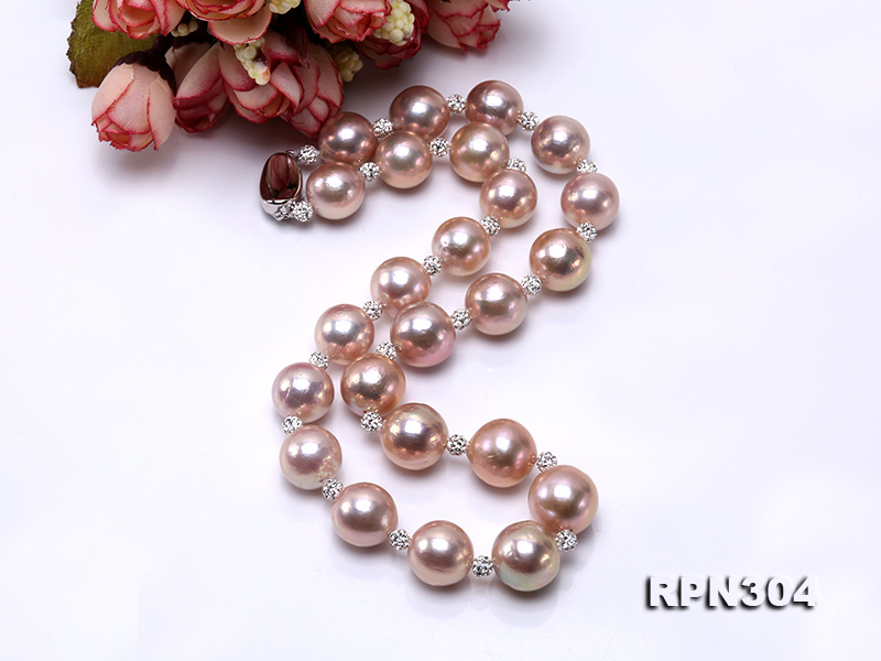13-14.5mm Huge Lavender Pearl Necklace with Shiny CZech Rhinestones big Image 5