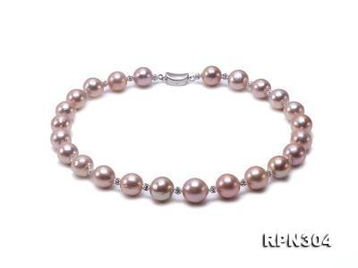 13-14.5mm Huge Lavender Pearl Necklace with Shiny CZech Rhinestones RPN304 Image 1