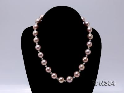 13-14.5mm Huge Lavender Pearl Necklace with Shiny CZech Rhinestones RPN304 Image 2