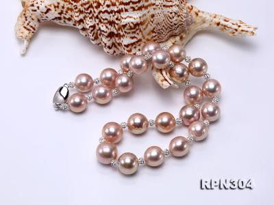 13-14.5mm Huge Lavender Pearl Necklace with Shiny CZech Rhinestones RPN304 Image 4