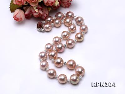 13-14.5mm Huge Lavender Pearl Necklace with Shiny CZech Rhinestones RPN304 Image 5