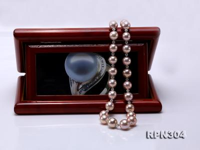 13-14.5mm Huge Lavender Pearl Necklace with Shiny CZech Rhinestones RPN304 Image 7