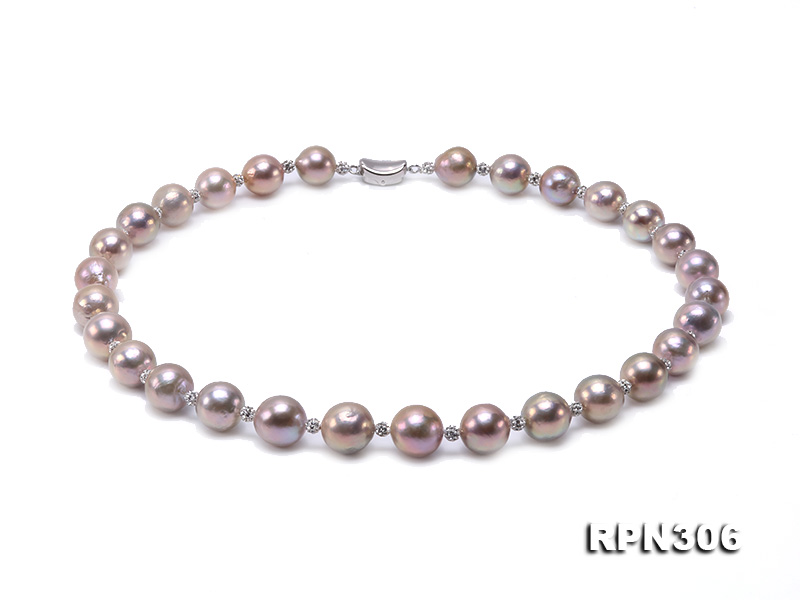 13-14.5mm Huge Lavender Pearl Necklace with Shiny CZech Rhinestones big Image 1