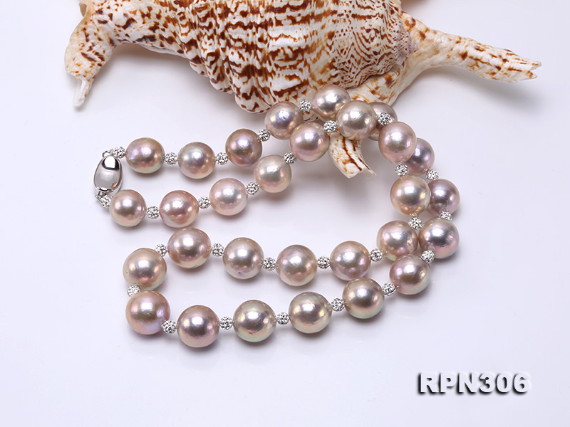13-14.5mm Huge Lavender Pearl Necklace with Shiny CZech Rhinestones big Image 4