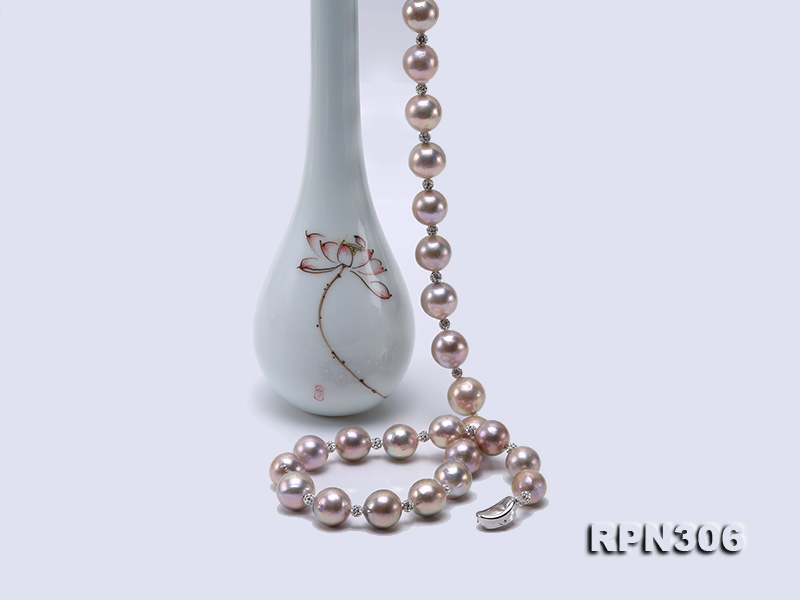 13-14.5mm Huge Lavender Pearl Necklace with Shiny CZech Rhinestones big Image 6