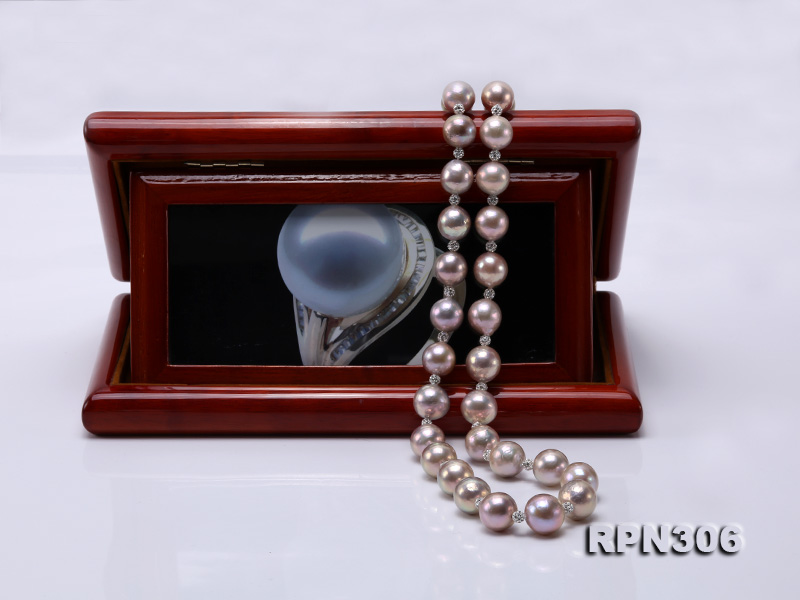 13-14.5mm Huge Lavender Pearl Necklace with Shiny CZech Rhinestones big Image 7