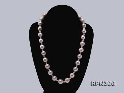 13-14.5mm Huge Lavender Pearl Necklace with Shiny CZech Rhinestones RPN306 Image 2