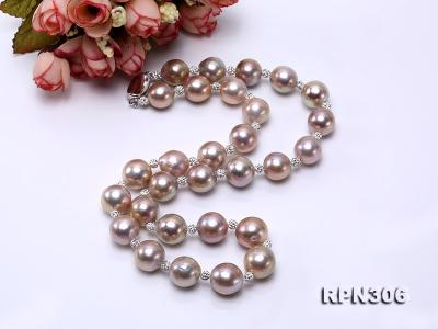 13-14.5mm Huge Lavender Pearl Necklace with Shiny CZech Rhinestones RPN306 Image 5