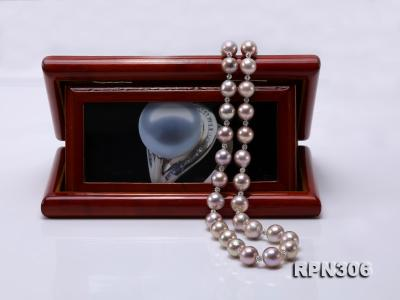 13-14.5mm Huge Lavender Pearl Necklace with Shiny CZech Rhinestones RPN306 Image 7