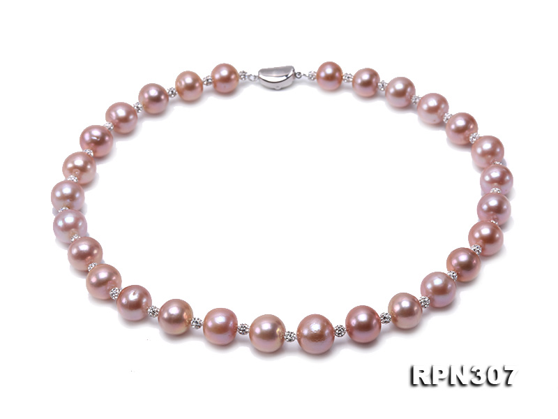 12.14.5mm Huge Pink Pearl Graduated Necklace with Shiny CZech Rhinestones big Image 1