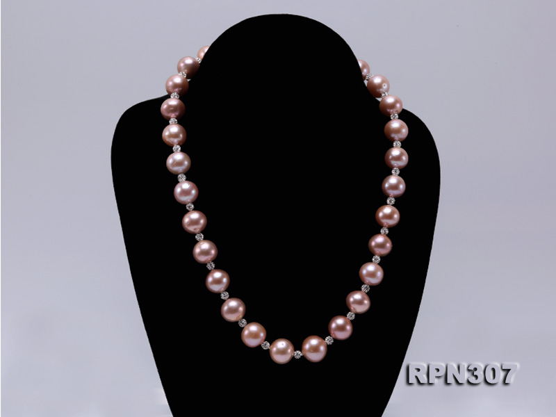 12.14.5mm Huge Pink Pearl Graduated Necklace with Shiny CZech Rhinestones big Image 2