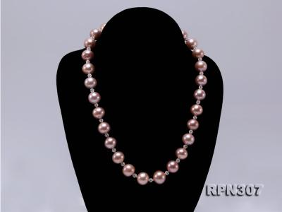 12.14.5mm Huge Pink Pearl Graduated Necklace with Shiny CZech Rhinestones RPN307 Image 2