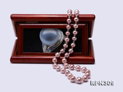 12-15.5mm Huge Lavender Pearl Graduated Necklace with Shiny CZech Rhinestones RPN309 Image 5