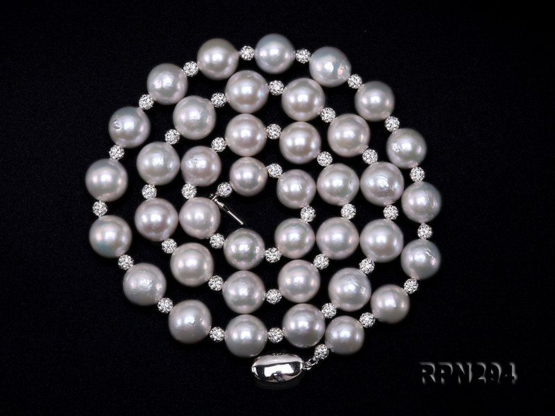 11-12mm High Quality Edison Pearl Necklace with Shiny CZech Rhinestones big Image 2