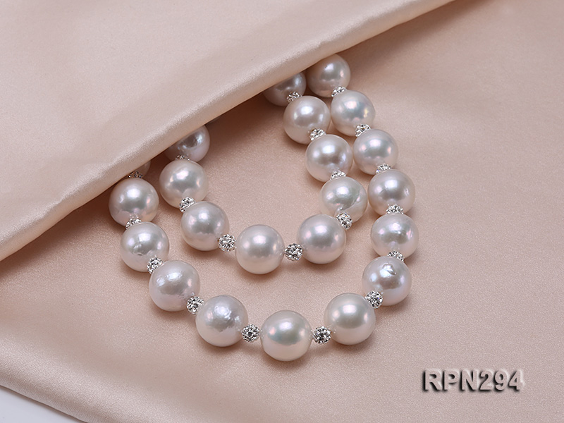 11-12mm High Quality Edison Pearl Necklace with Shiny CZech Rhinestones big Image 3