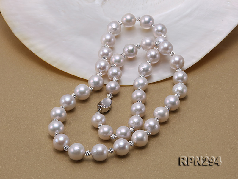11-12mm High Quality Edison Pearl Necklace with Shiny CZech Rhinestones big Image 4