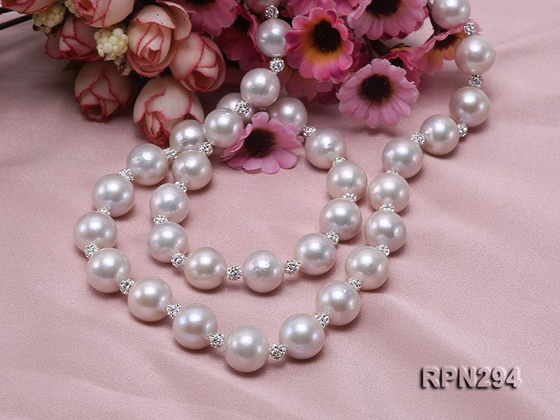 11-12mm High Quality Edison Pearl Necklace with Shiny CZech Rhinestones big Image 5