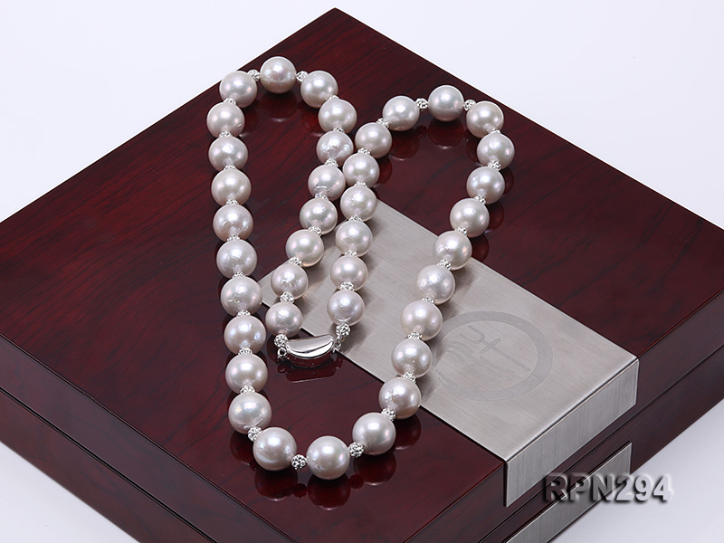 11-12mm High Quality Edison Pearl Necklace with Shiny CZech Rhinestones big Image 6