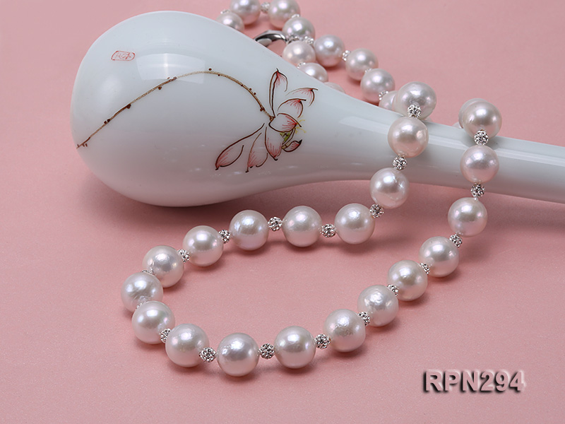 11-12mm High Quality Edison Pearl Necklace with Shiny CZech Rhinestones big Image 8
