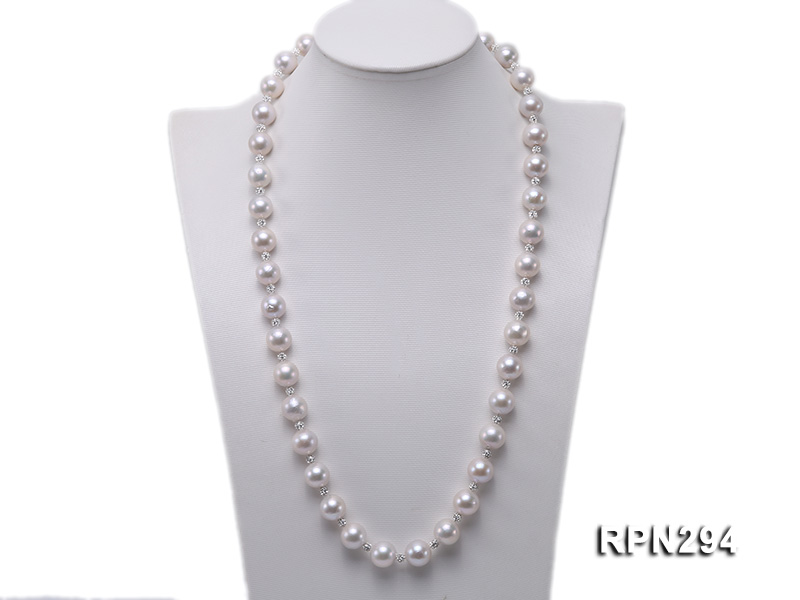 11-12mm High Quality Edison Pearl Necklace with Shiny CZech Rhinestones big Image 1
